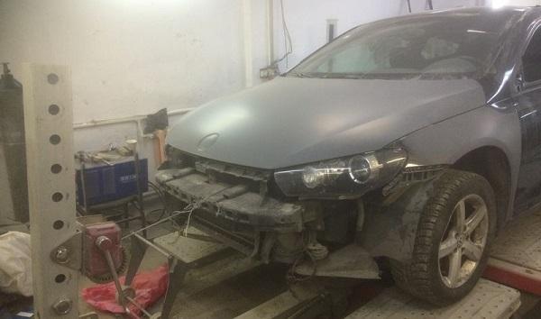Стапельные работы и покраска автомобиля Volkswagen Scirocco 3 в Москве СВАО
